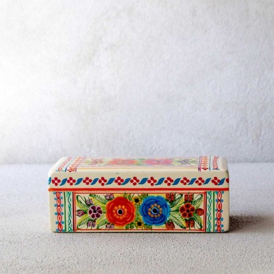 White Flowered Wooden Olinalá Box