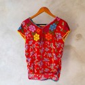 Red Flowered Blouse Size 34